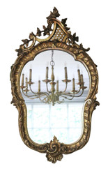 Antique large fine quality gilt 19th Century overmantle or wall mirror