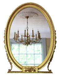 Antique large fine quality gilt oval overmantle or wall mirror C1900