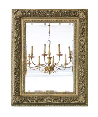 Antique large fine quality gilt 19th Century overmantle wall mirror