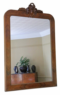Antique large fine quality walnut overmantle wall mirror C1900