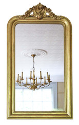 Antique large quality gilt 19th Century overmantle / wall mirror