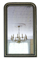 Antique large quality 19th Century ebonised and gilt mirror overmantle wall