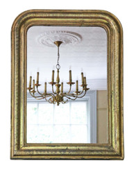 Antique quality gilt 19th Century overmantle wall mirror large