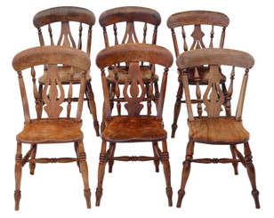 Antique matched set of 6 Victorian C1890 ash and elm kitchen dining chairs