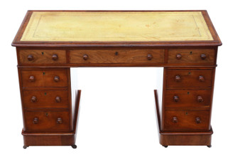 Antique quality 19th Century mahogany desk writing dressing table twin pedestal