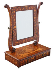 Antique fine quality 19th Century marquetry dressing table swing mirror toilet