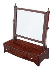 Antique quality Georgian C1805 mahogany dressing table swing mirror toilet