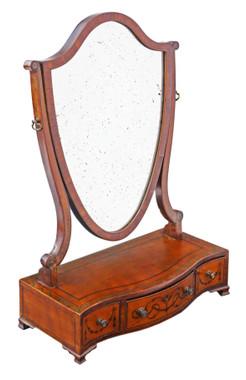 Antique quality Georgian C1820 satinwood dressing table swing mirror