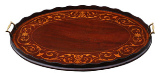 Antique quality 19th Century inlaid mahogany oval serving tea tray