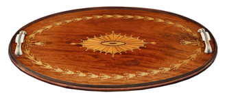 Antique quality inlaid mahogany oval serving tea tray C1915