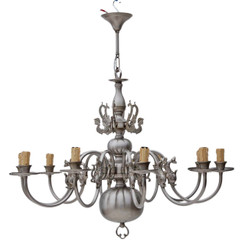 Antique large Flemish 10 lamp silver brass bronze chandelier FREE DELIVERY