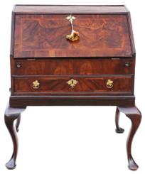 Antique Georgian C1730 burr walnut bureau desk writing table 18th Century
