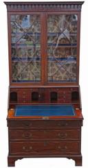 Antique fine quality William IV mahogany glazed bureau bookcase C1835