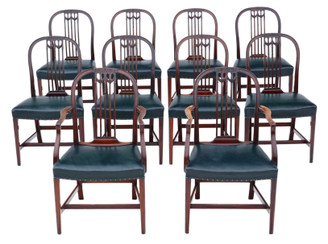 Antique quality set of 10 (8+2) mahogany dining chairs 19th Century