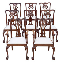 Antique quality set of 8 (6+2) mahogany dining chairs Georgian revival C1910