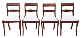 Antique quality set of 4 Regency C1825 mahogany dining chairs 19th Century