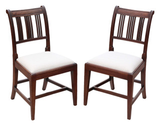 Antique quality pair of Georgian mahogany dining side hall bedroom chairs