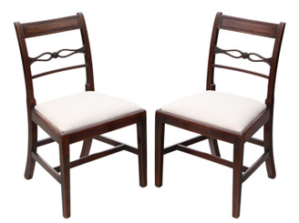 Antique quality pair of Georgian mahogany dining side hall bedroom chairs C1800