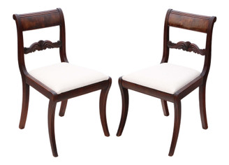 Antique quality pair of Regency mahogany dining side hall bedroom chairs C1825