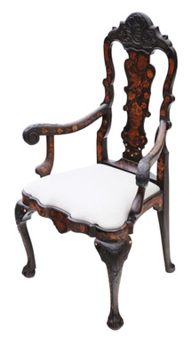Antique very fine quality 18th Century Dutch marquetry elbow arm chair