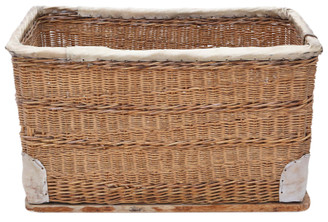 Vintage large strong cane and pig skin log or storage basket