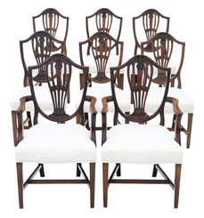 Antique Georgian fine quality set of 8 (6+2) mahogany dining chairs C1800