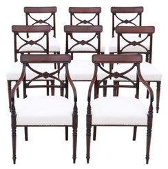 Antique fine Georgian quality set of 8 (6+2) mahogany dining chairs C1800