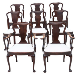Antique fine quality set of 8 (6+2) mahogany dining chairs Queen Anne revival C1910