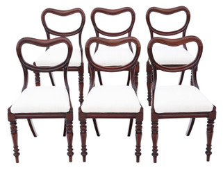 Antique quality set of 6 William IV mahogany balloon back dining chairs C1835