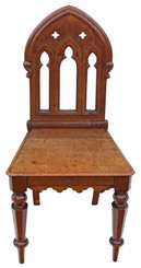 Antique fine quality 19th Century Gothic mahogany hall or side chair
