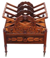 Antique fine quality Regency C1825 mahogany Canterbury magazine rack