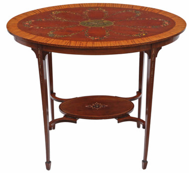 Antique fine quality 19th Century decorated satinwood and mahogany table occasional side centre window