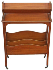 Antique fine quality Victorian 19th Century satin walnut bookcase book trough