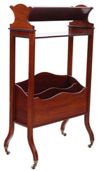 Antique quality Victorian 19th Century mahogany bookcase book trough