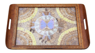 Antique fine quality inlaid tunbridge ware butterfly serving tray C1920