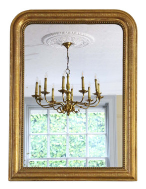 Antique large quality 19th Century French gilt wall mirror overmantle