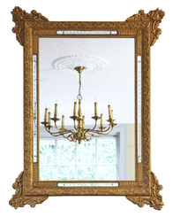 Antique large quality 19th Century Italian gilt wall mirror overmantle