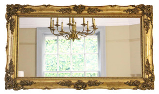 Antique large quality 19th Century gilt wall mirror overmantle
