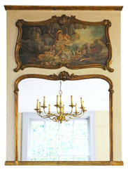 Antique large C1900 quality gilt full height wall trumeau mirror