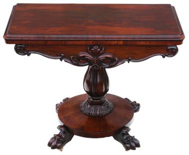 Very Fine quality Regency rosewood folding card tea console table C1825