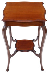 Antique fine quality Edwardian C1905 inlaid mahogany shaped table occasional side centre window