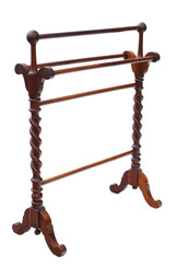 Antique quality mahogany towel rail stand Victorian 19th Century