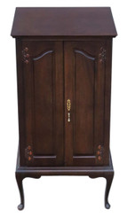 Antique Edwardian mahogany music cabinet cupboard C1910