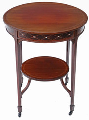 Antique fine quality Victorian C1900 inlaid mahogany circular table occasional side centre window