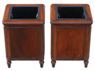 Antique fine quality pair of mahogany jardiniere planters or waste paper bins , early 20th Century