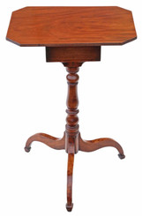 Antique fine quality Georgian C1800 mahogany tilt top wine table side with drawer