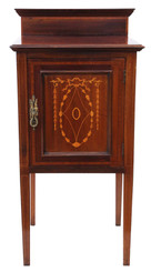 Antique fine quality Edwardian C1910 inlaid mahogany bedside table cupboard
