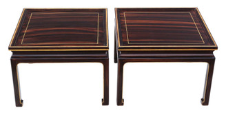 Antique pair of faux rosewood coffee, side occasional or lamp tables Mid-20th Century