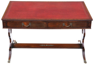 Antique quality flame mahogany writing table desk 19th century revival C1920