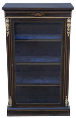 Antique fine quality tall Victorian C1890 Aesthetic inlaid and ebonised display cabinet 19th Century